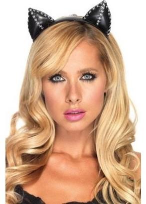 Leg Avenue Stitch Black Kitty Cat Ear Headband