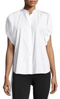 Helmut Lang Drawstring-Sleeve Cotton Poplin Top, White