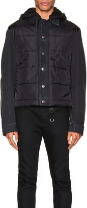Greg Lauren Nylon Denim Hooded Trucker Jacket in Black | FWRD