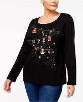 Karen Scott Plus Size Cotton Holiday Graphic Top, Created for Macy's
