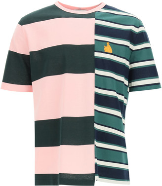 Lanvin PATCHWORK RUGBY T-SHIRT L Green, Pink, Black Cotton