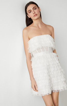 BCBGMAXAZRIA Strapless Tiered Lace Dress