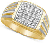 MACY'S Men's Diamond Two-Tone Ring (1/2 ct. t.w.) in 10k gold and White Rhodium Plated over 10k Gold
