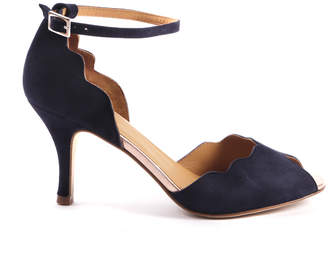 Emma.Go Emma Go - Riona Navy Suede Peep Toe Sandal - UK 7 (EU 40) - Blue/Rose Gold