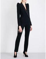 Thierry Mugler Satin-lapel crepe tuxedo jumpsuit