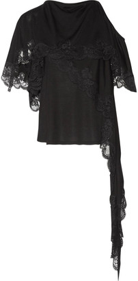 Givenchy Cutout Layered Lace-trimmed Jersey Top