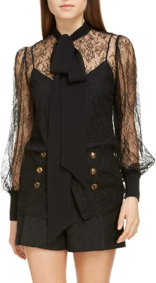 Givenchy Tie Neck Chantilly Lace Blouse