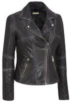 Black Rivet Womens Asymmetric Leather Moto Jacket W/ Distressed And Quilting Det