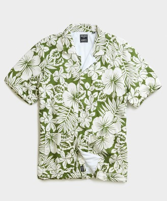 Todd Snyder Terry Lined Bahama Short Sleeve Shirt in Green Floral