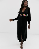 Asos Design DESIGN maxi embroidered tea dress