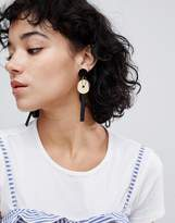 Asos Disc And Resin Shape Drop Earrings