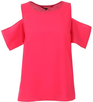French Connection Women's Classic Crepe Light Cut Out Shoulder Top
