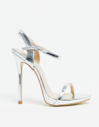 BEBO barely there heeled sandals in silver