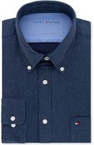 Tommy Hilfiger Men's Slim-Fit Comfort Wash Untucked Blue Solid Dress Shirt