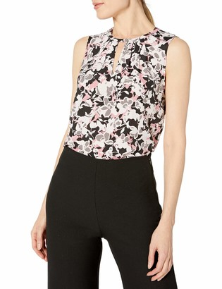 Nine West Women's Sleeveless HIGH Neck Printed Blouse with V Cut Out