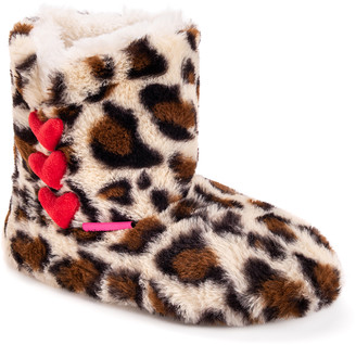 Betsey Johnson Women's Slippers Cheetah - Brown Cheetah Heart-Button Slipper Booties - Women