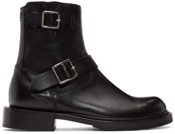 Diesel Black D-Jack BB Zip Buckle Boots