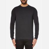 BOSS ORANGE Men's Albinon Crew Neck Knitted Jumper Dark Grey