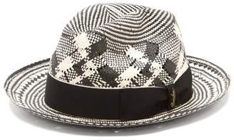 Borsalino Checked Papier Panama Hat - Mens - Black Multi