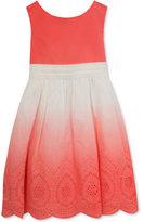 Rare Editions Ombré Eyelet-Border Dress, Toddler & Little Girls (2T-6X)