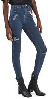 Topshop Women's Jamie Scribble High Rise Skinny Jeans