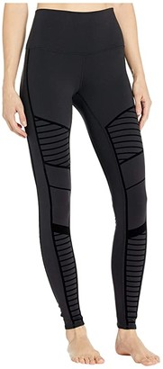 Alo Flocked High-Waist Moto Leggings (Black) Women's Casual Pants