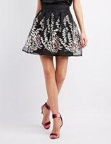 Charlotte Russe Embroidered Organza Skater Skirt