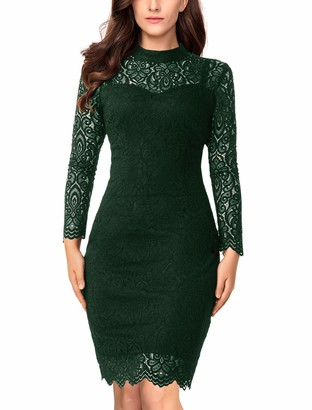Noctflos Long Sleeve Lace Bodycon Scalloped Knee Length Cocktail Party Dress for Women - green - Large