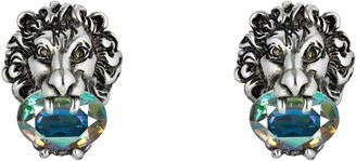 Gucci Lion head earrings with crystals