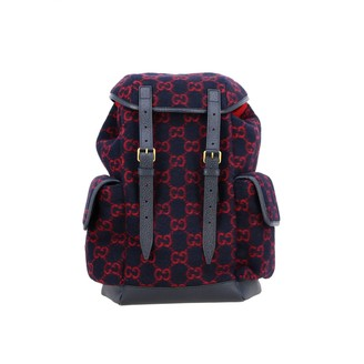Gucci Backpack In Gg Supreme Wool And Leather