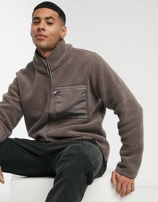 New Look borg nylon jacket in mink