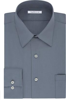 "Van Heusen Men's Tall Dress Shirt Big Fit Poplin Grey 22"" Neck 34""-35"" Sleeve"