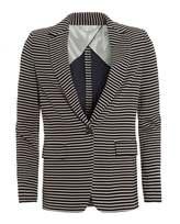 Max Mara Weekend Womens Carta Jacket, Ultra Marine Blue Striped Blazer