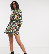 Reclaimed Vintage inspired mini shirt dress with waisted detail in floral print