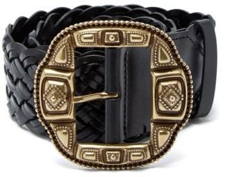 Etro Braided Leather Belt - Womens - Black