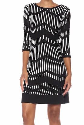 Taylor Dresses Women's Zig Zag Pattern A Line Sweater Dress