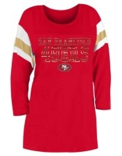 5th & Ocean San Francisco 49ers Women's Sleeve Stripe Three Quarter Raglan T-Shirt