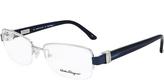 Salvatore Ferragamo Silver & Blue Eyeglass Frames