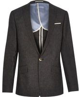 River Island MensBlack linen slim fit suit jacket