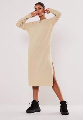 Missguided Stone Basic Long Sleeve Midi T Shirt Dress