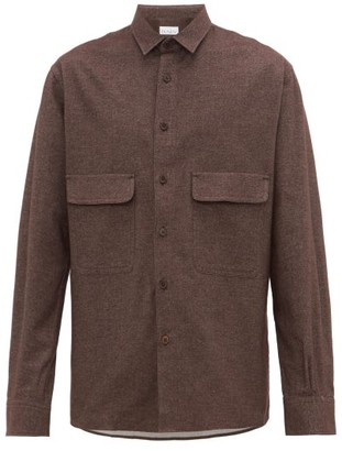 Raey Chest-pocket Brushed Cotton-twill Shirt - Brown