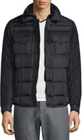 Moncler Blais Mixed-Media Down Shirt Jacket, Black