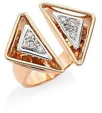 Plevé Women's Aura 18K Rose Gold & Diamond Triangle Cocktail Ring