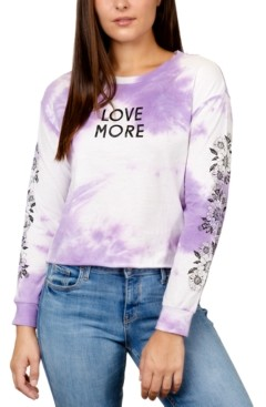 Rebellious One Juniors' Love More Tie-Die Graphic Top