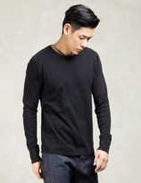 Wings + Horns Black 1x1 Slub L/s Crewneck T-shirt