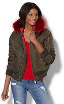 New York & Co. Faux Fur-Trim Bomber Jacket