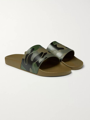 Valentino Camouflage-Print Rubber Slides