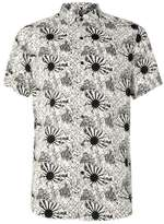 Topman Off White and Black Sun Print Viscose Short Sleeve Casual Shirt