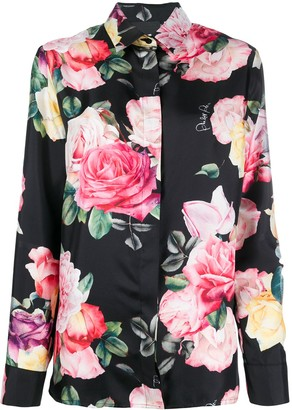 Philipp Plein Floral-Print Long-Sleeved Shirt