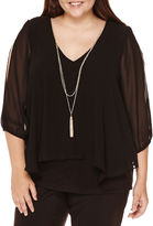 BY AND BY by&by 3/4-Sleeve Necklace Top - Plus